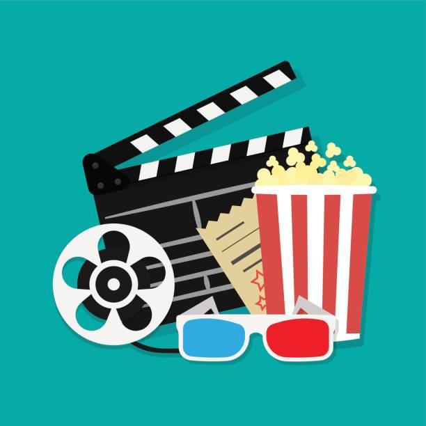 stockillustraties, clipart, cartoons en iconen met grote open klepel bestuur reel cinema filmpictogram instellen. film en film elementen in platte ontwerp. cinema en film tijd plat pictogrammen met filmrol, popcorn, 3d bril, filmklapper. - gopro