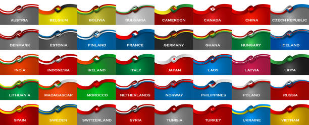 Big pack of 40 world country sport style flag classic ribbons. Vector Illustration vector art illustration