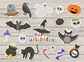 Big pack of vector Halloween stickers on wooden background. Traditional Samhain party clipart. Scary collection with jack-o-lantern, spider, ghost, skull, bats. Autumn holiday flat style icons set
