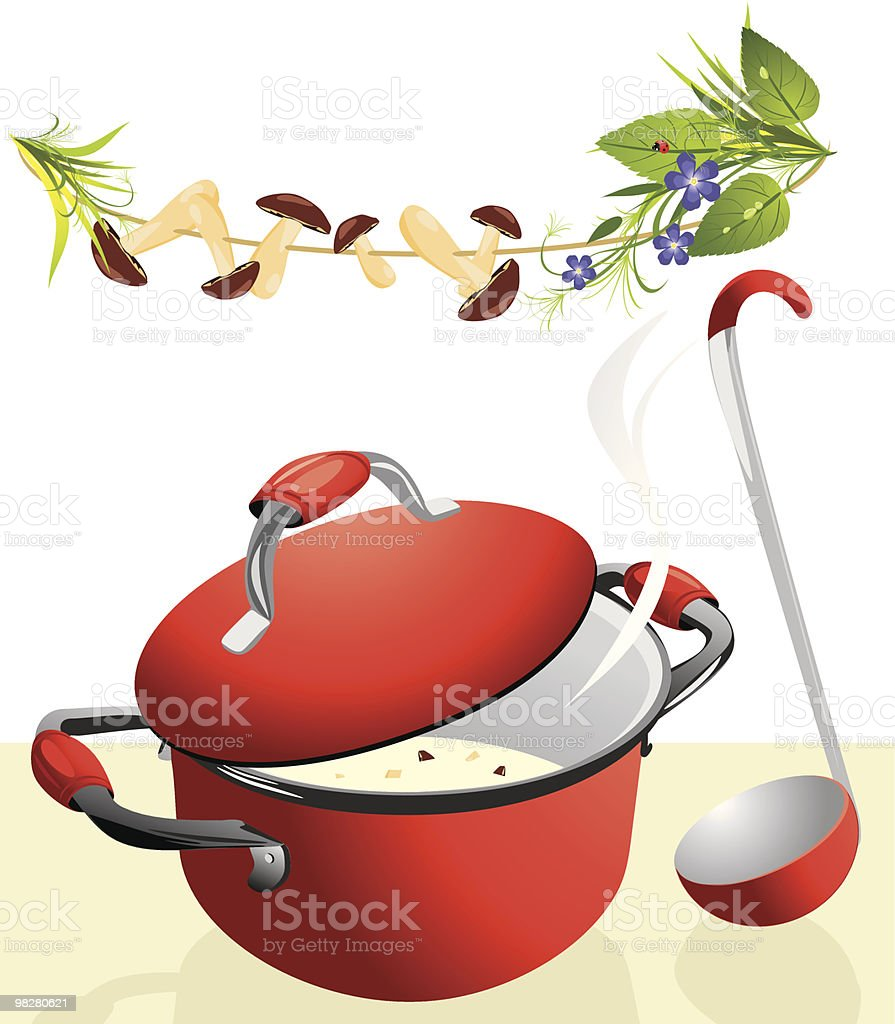 Big pan with mushroom soup and scoop royalty-free big pan with mushroom soup and scoop stock vector art & more images of ajar