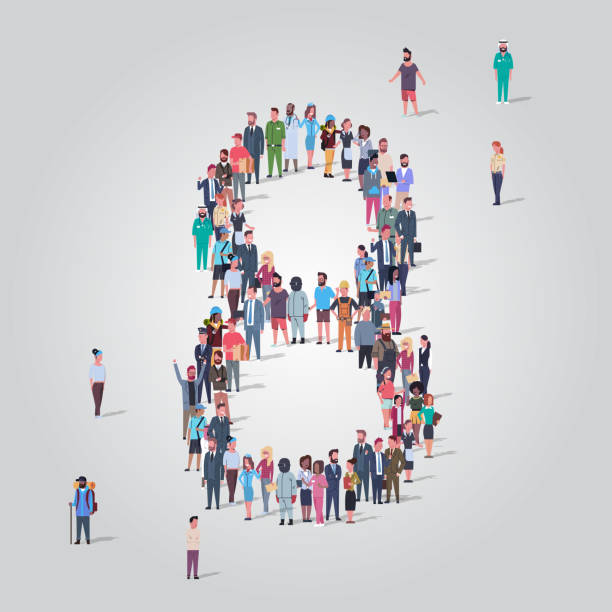big people crowd forming number eight 8 shape different occupation employees group standing together gathering community concept full length big people crowd forming number eight 8 shape different occupation employees group standing together gathering community concept full length vector illustration police meeting stock illustrations