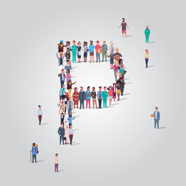 big people crowd gathering in shape letter P different occupation employees group standing together English alphabet concept full length big people crowd gathering in shape letter P different occupation employees group standing together English alphabet concept full length vector illustration police meeting stock illustrations