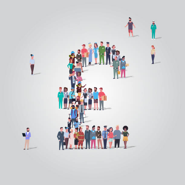 big people crowd gathering in shape of pound symbol different occupation employees group standing together money currency concept full length - британская валюта stock illustrations