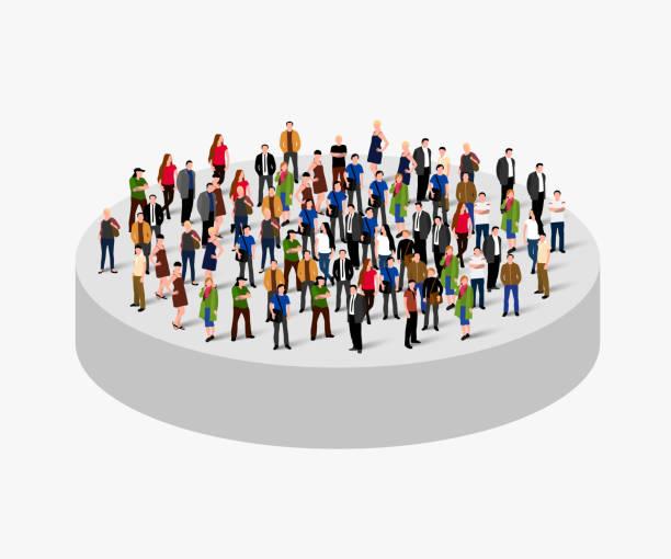 stockillustraties, clipart, cartoons en iconen met grote mensen menigte in de cirkel. concept van de samenleving. - grote groep mensen