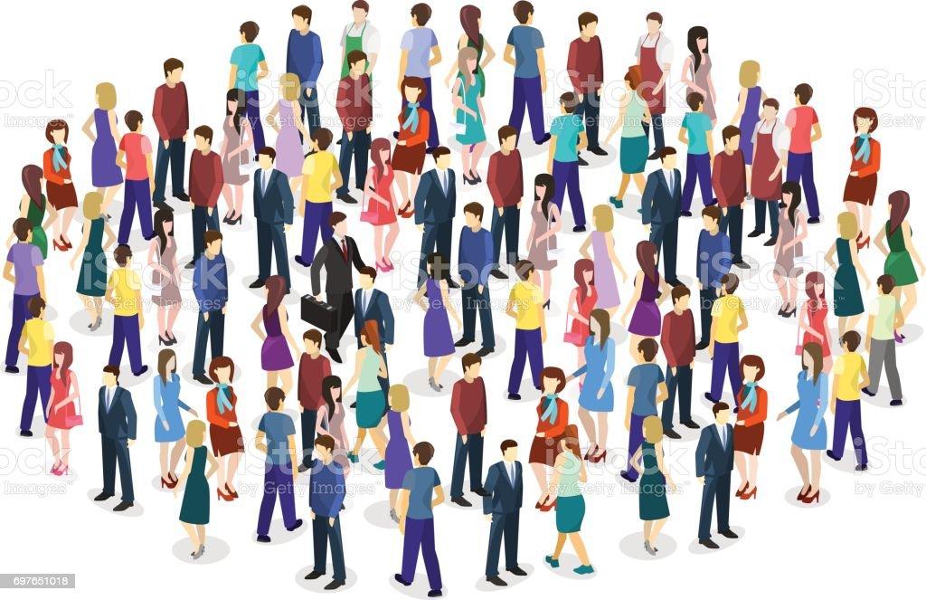 Multitud de personas grandes sobre fondo blanco. - ilustración de arte vectorial