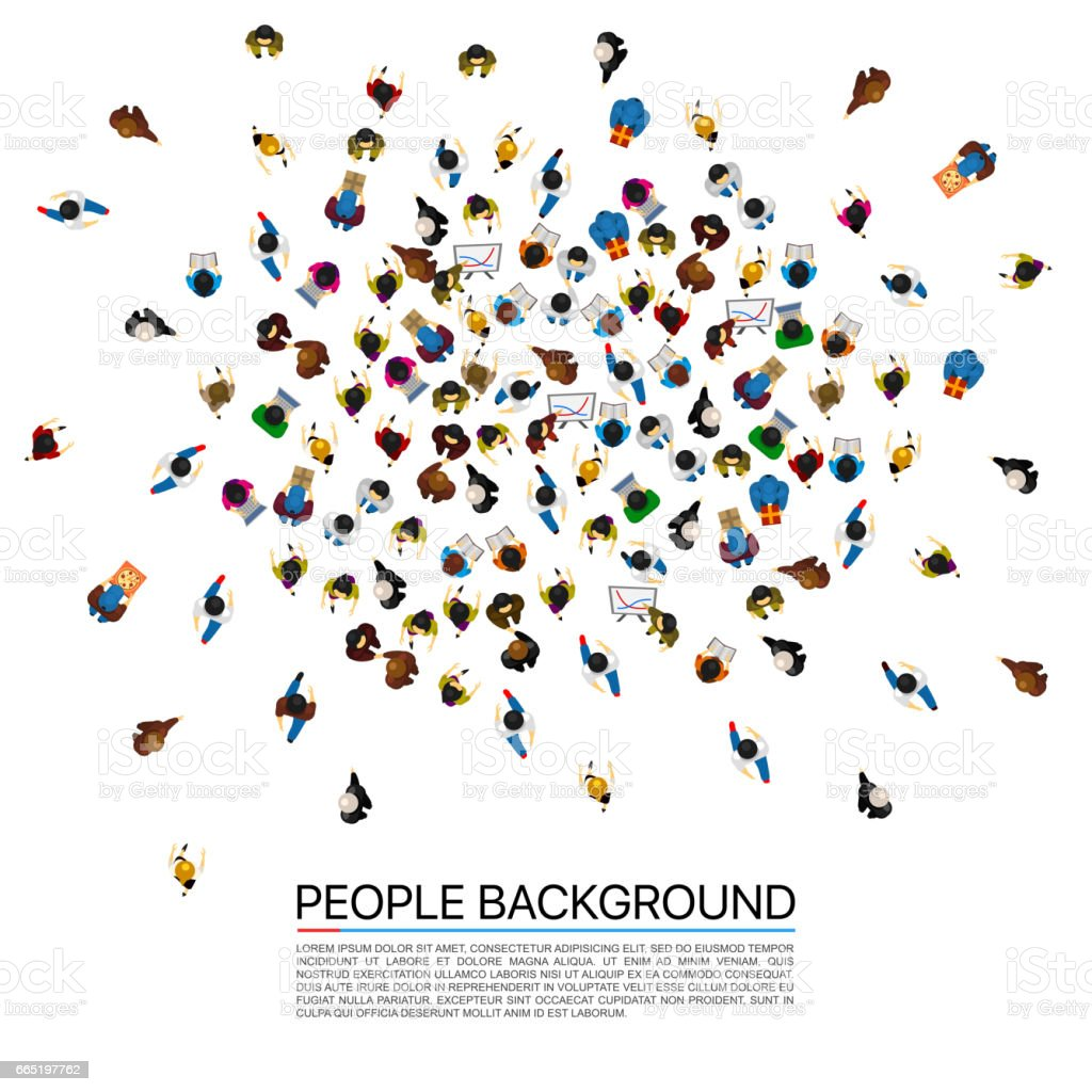 Big people crowd on white background. Vector illustration. vector art illustration