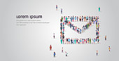big people crowd standing together in shape of envelope icon different occupation employees group social network communication concept full length horizontal copy space vector illustration