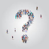big people crowd standing together in shape of question mark sign different occupation employees group pondering problem concept full length vector illustration