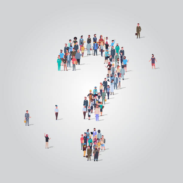 big people crowd standing together in shape of question mark sign different occupation employees group pondering problem concept full length big people crowd standing together in shape of question mark sign different occupation employees group pondering problem concept full length vector illustration police meeting stock illustrations