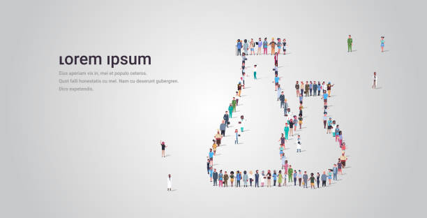 big people crowd standing together in shape of test tube icon different occupation employees group medical glassware concept full length horizontal copy space big people crowd standing together in shape of test tube icon different occupation employees group medical glassware concept full length horizontal copy space vector illustration police meeting stock illustrations
