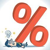Big percent sign fall on businessman