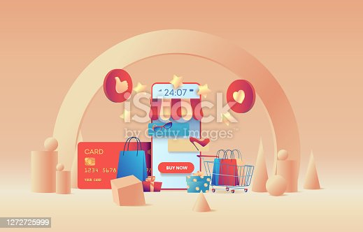Big phone is like store. Contactless payment concept. Metaphor for 24/7 online shopping.  Flat vector illustration
