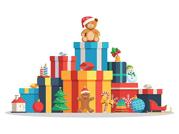 Big pile gift boxes and toys vector art illustration