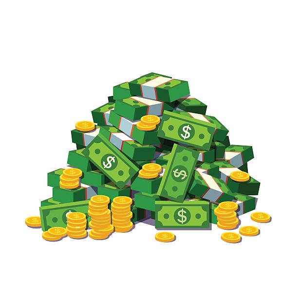 großer haufen bargeld und einige goldmünzen - haufen stock-grafiken, -clipart, -cartoons und -symbole