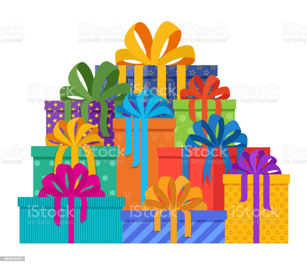 Big Pile Of Christmas Gifts In Holiday Packages With Colored Paper ...