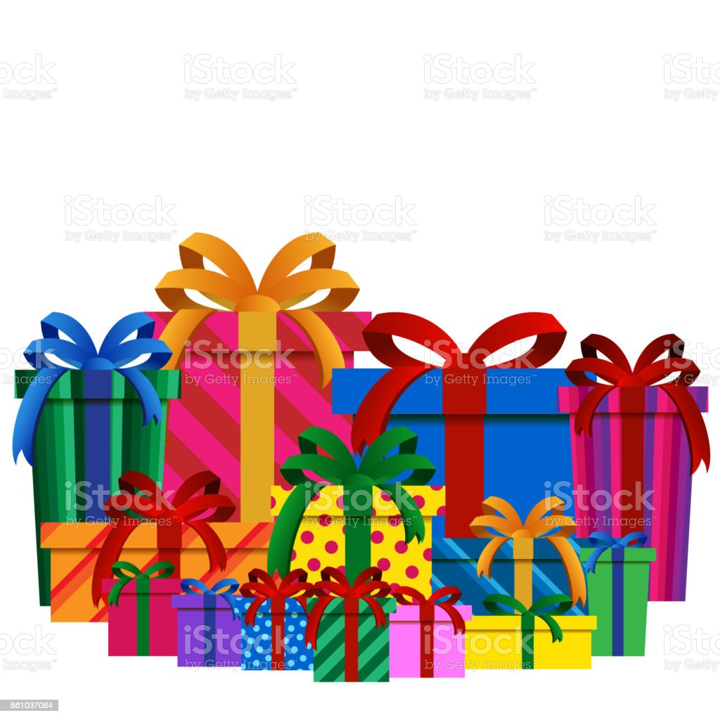 Big Pile Of Colorful Christmas Gift Boxes Isolated Royalty Free