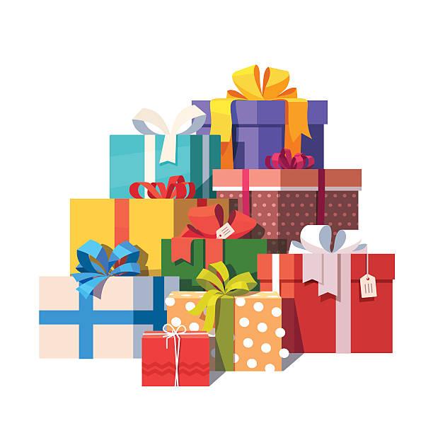 große haufen von bunten geschenk-boxen verpackt - geburtstagsgeschenk stock-grafiken, -clipart, -cartoons und -symbole