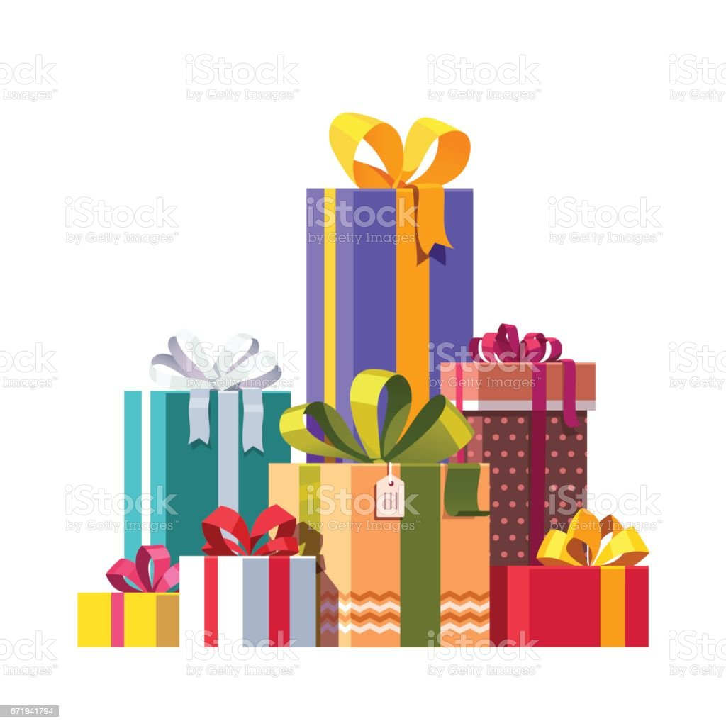Big Pile Of Colorful Wrapped Gift Boxes Stock Vector Art More