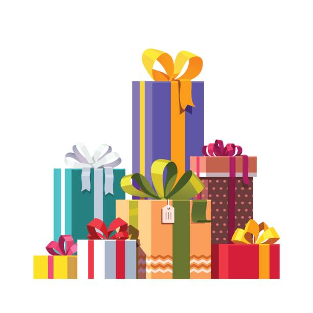 Big pile of colorful wrapped gift boxes Big pile of colorful wrapped gift boxes decorated with ribbon, bows and ornaments. Lots of holiday presents. Flat style vector illustration isolated on white background. gifts stock illustrations