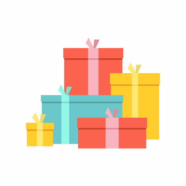 duży stos kolorowych zawiniętych pudełek na prezenty - gift stock illustrations