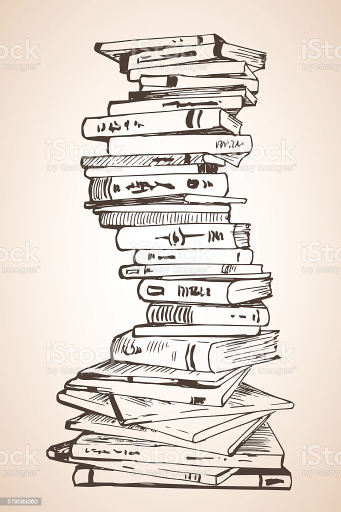 Big Pile Of Different Books Stock Vector Art Amp More Images