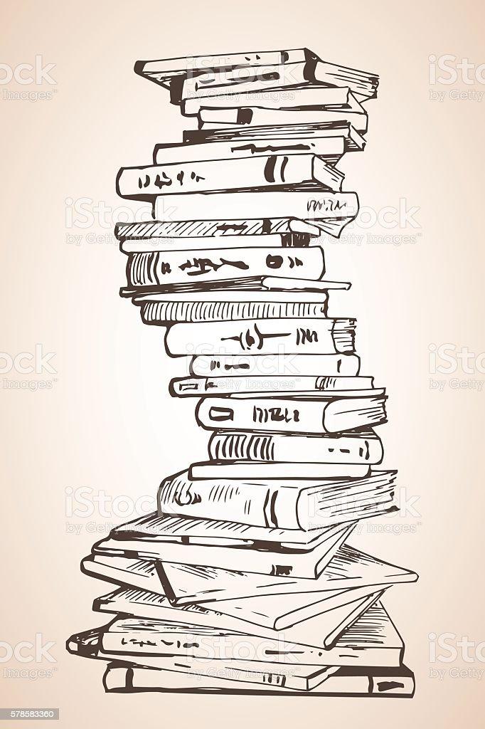 Big Pile of different books. vector art illustration