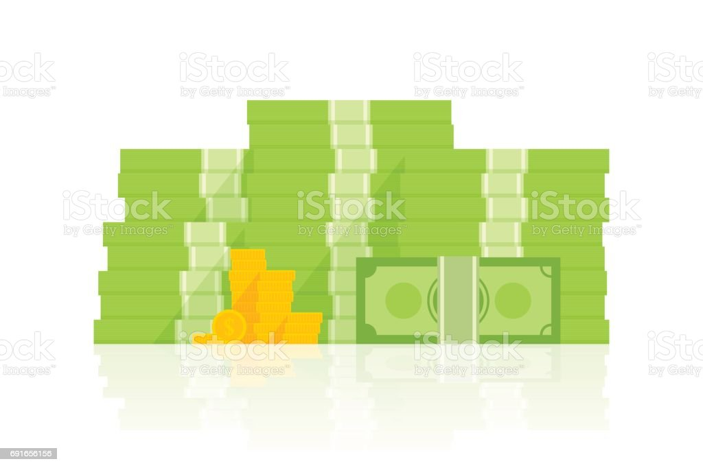 Big pile of money vector illustration, heap of cash flat cartoon style vector art illustration
