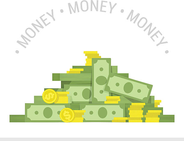 Big pile of money vector illustration. Concept of big money. Big pile of cash. Business and banking concept. Heap of cash, American dollars, pack, parcel, batch, flock, package modern design isolated on white background in flat style. stack stock illustrations