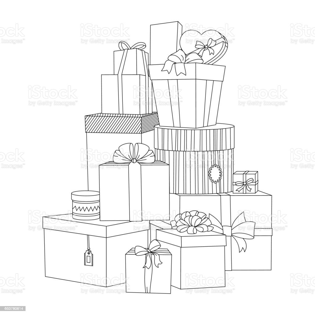 Big Pile Of Wrapped Gift Boxes Beautiful Box Gift Box Isolated ...