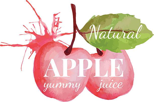 Große Rosa Apfel mit Blatt und splash – Vektorgrafik