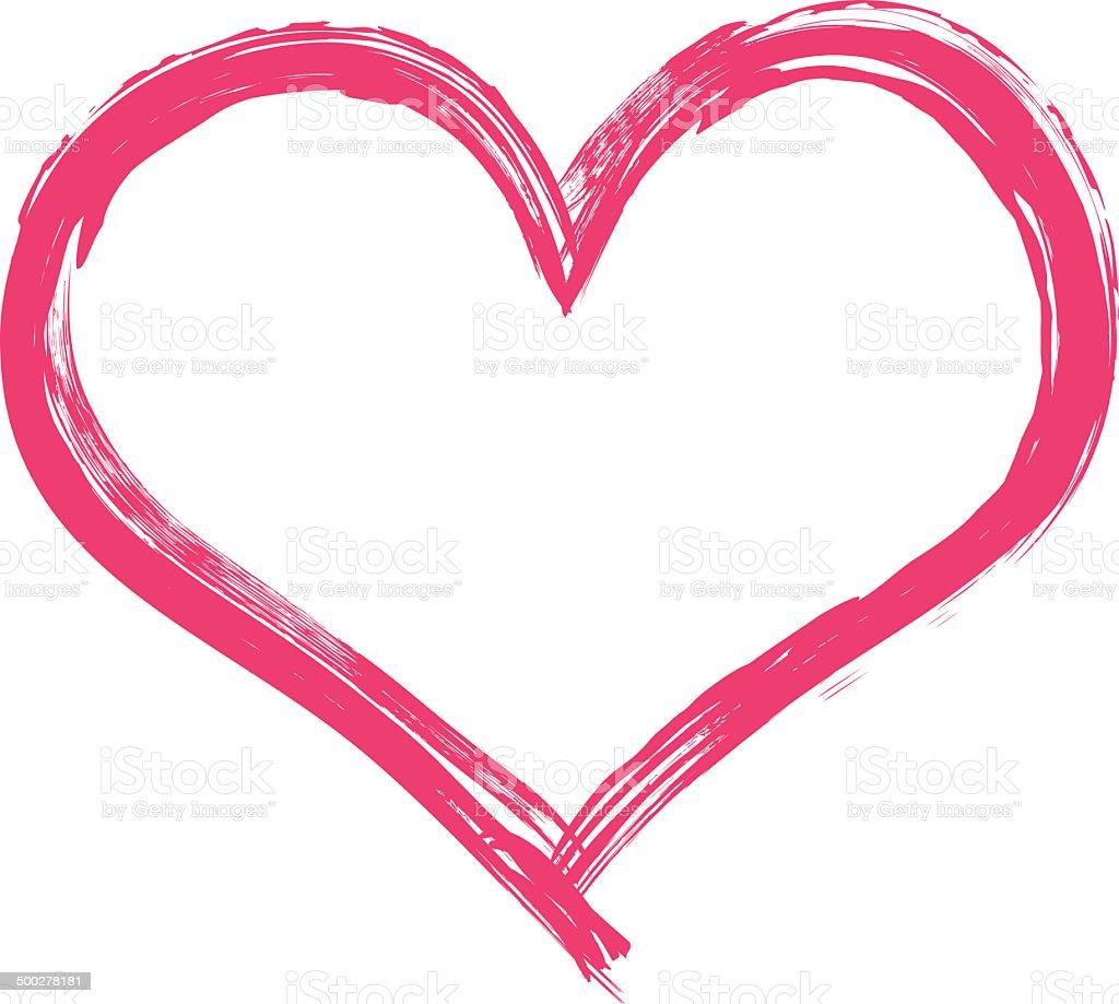 Big pink heart illustration vector art illustration