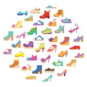 Big pixel art set, 40 different types of woman's shoes