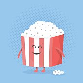 Big popcorn box face. Character with legs and hands.
