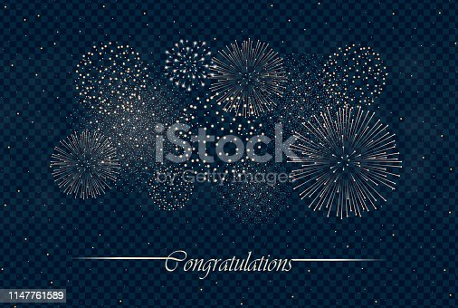 Big realistic firework show isolated on transparent night sky background. Independence day concept. Congratulations background. Luxury abstract. Explosion concept. Galaxy show. Vector illustration