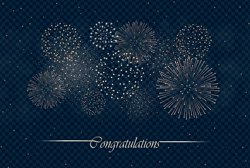 Big Realistic Firework Show Isolated On Transparent Night Sky Background Independence Day Concept Congratulations Background Luxury Abstract Explosion Concept Galaxy Show Vector Illustration Stock Illustration - Download Image Now