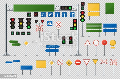 Big Realistic Set Of Road Signs And Traffic Lights And Semaphores. Collection Of Sign Road, Signpost And Guidepost For Transport Illustration. Vector Traffic Light 3d. Vector Realistic Illustration.