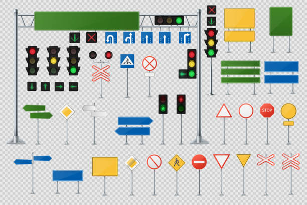stockillustraties, clipart, cartoons en iconen met grote realistisch set van verkeersborden en verkeerslichten en semaforen. - wegwijzer bord