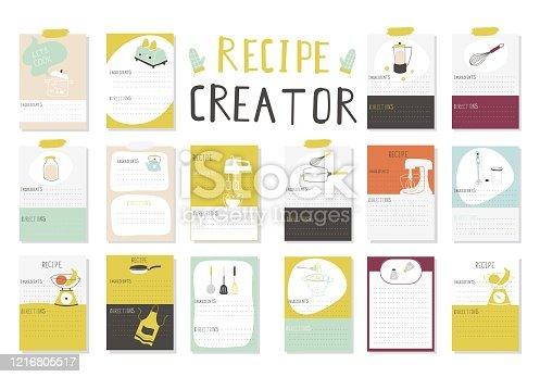 istock Big Recipe Creator. A lot of template for cookbook. Menu Creator for restorants. 1216805517