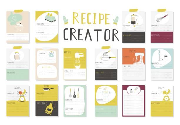 Big Recipe Creator. A lot of template for cookbook. Menu Creator for restorants. Big Recipe Creator. A lot of template for cookbook. Menu Creator for restorants. Vector Illustration cooking borders stock illustrations