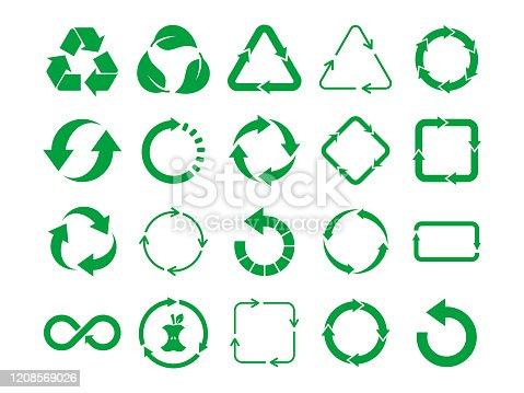 Eco friendly, zero waste, concept. Nature cycle arrows set. Vector illustration,flat style, clip art.