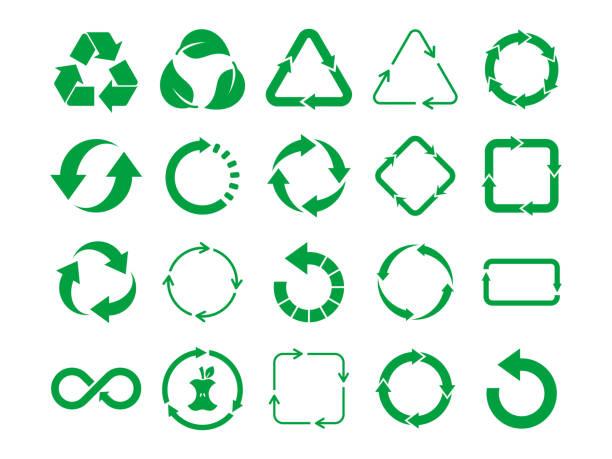 große recycling-zeichen-set. grünes recycling-symbol auf weißem hintergrund gesetzt. 20 verschiedene recycling-symbole. - recycling stock-grafiken, -clipart, -cartoons und -symbole