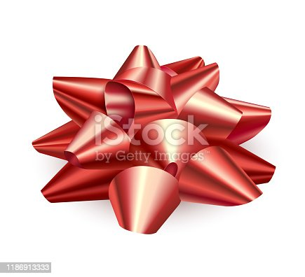 Big red bow, realistic. Accessory for gift wrapping. Side view. Isolated over white background. Vector illustration