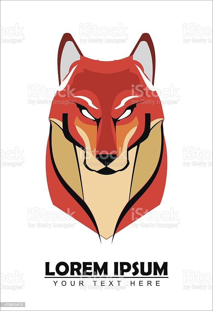 big red fox vector art illustration