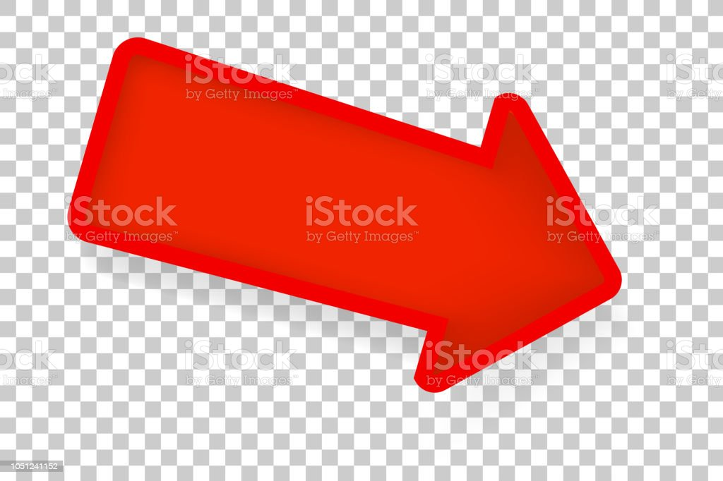 Big Red Paper Cut Syle Arrow with soft shadow at Transparent Effect Background