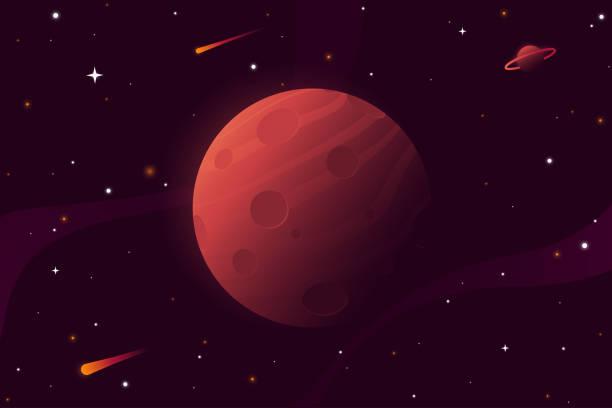 illustrations, cliparts, dessins animés et icônes de grosse planète rouge avec cratères. mars vector illustration. fond d'espace avec des étoiles, planète et comètes. décoration pour votre conception. eps 10. - mars