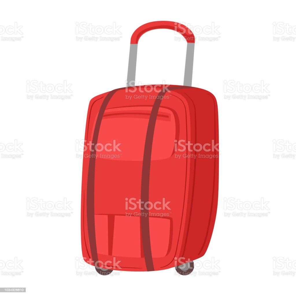 Stora Röda Resväska På Hjul Med Teleskophandtag Objekt Från Bagage Väska Tecknad Samling Av Tillbehör vektorgrafik och fler bilder på Bag