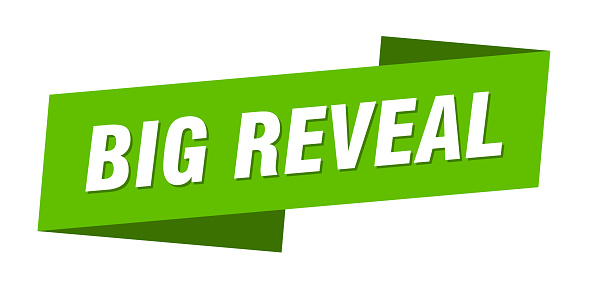 big reveal banner template. ribbon label sign. sticker