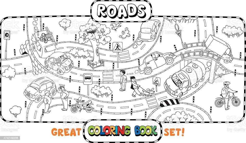 Big Road Coloring Book Stock Vector Art & More Images of 2015 ...