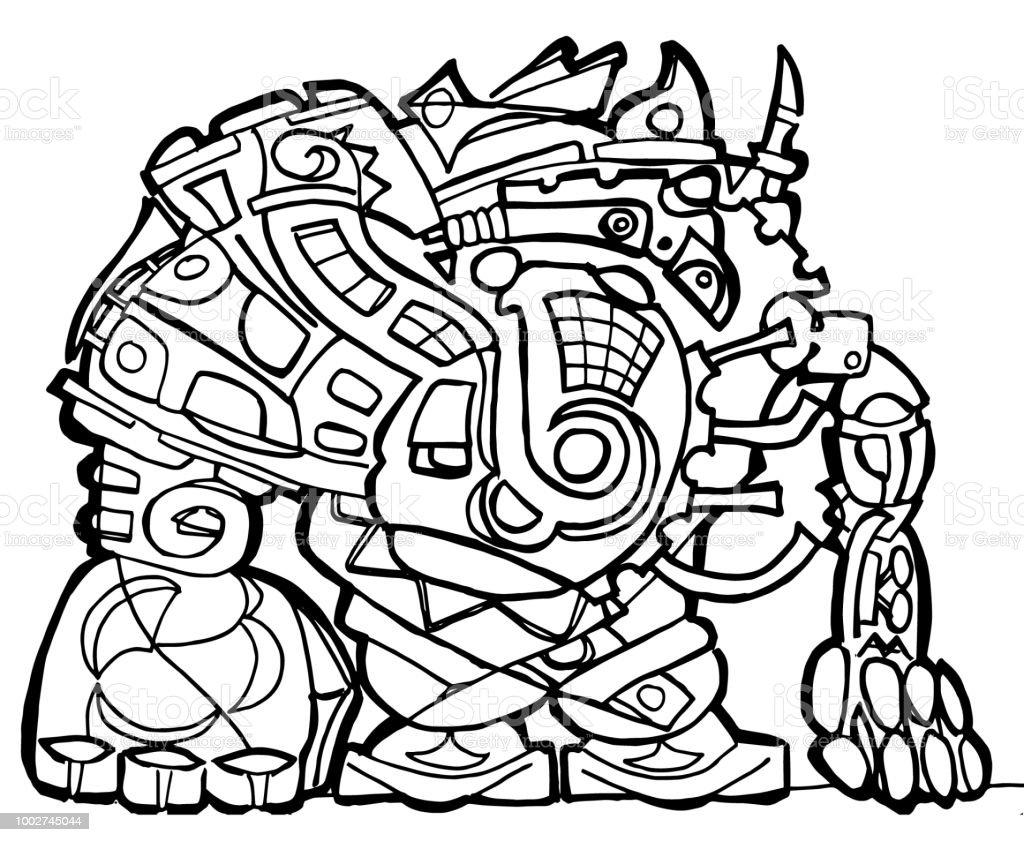 Büyük Robot Boyama Sayfası Stok Vektör Sanatı Boyama Kitabınin