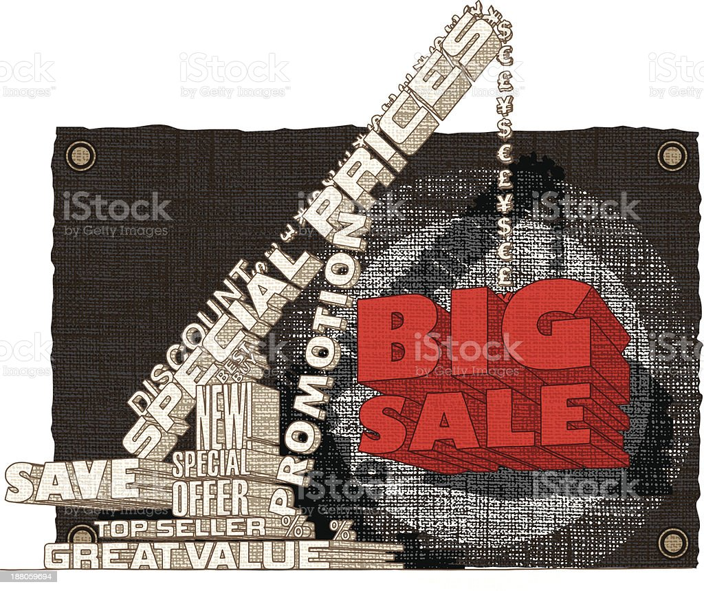 Big Sale 3D Text - Sketch on Canvas royalty-free big sale 3d text sketch on canvas stock vector art & more images of activity